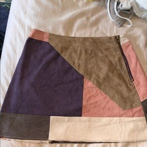 Fall multi colored suede skirt